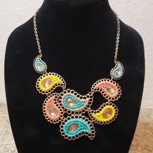 Charming Charlie paisley statement necklace